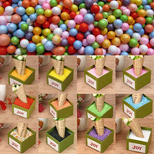 Iusun 1Set Lots Assorted Colors Crafts Polystyrene Styrofoam Filler Foam Mini Beads Balls Kids Toys (Hot Pink)