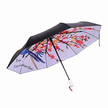 HYDTSH Sombrilla Paraguas a Prueba de Viento Paraguas de Bolsillo de Doble Uso Pantalla de Vinilo ...