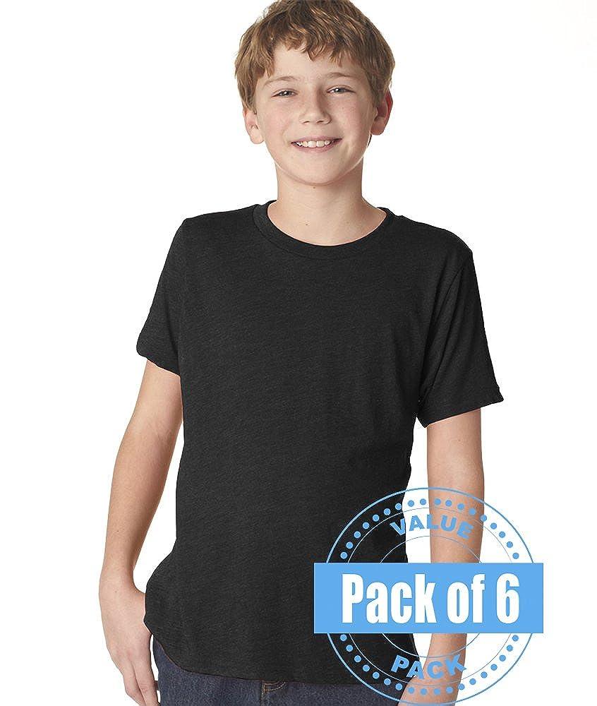Next Level Boys Boys Tri-Blend Crew N6310-Vintage Black-Large 6 Pack