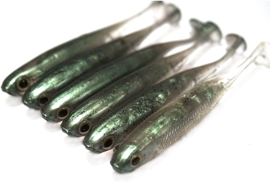 Weedless Bass Crappie Trout Fishing Worm Dr.Fish 6 Pack Soft Body Swimbait Paddle Tail Soft Plastic Lure Shad Lure Multiple Sizes Colors