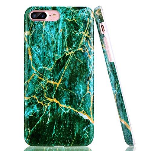 iPhone 7 Plus Case, iPhone 8 Plus Case, CANSHN [Green & Gold Creative Design] Clear Slim Shockproof Soft Matte TPU Bumper Phone Case Cover Skin for Apple iPhone 7 Plus & iPhone 8 Plus [5.5 inch] (Cell Case Phone Skin)