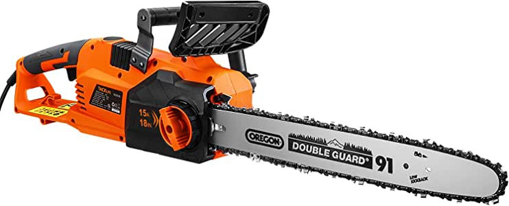 TACKLIFE Chainsaw, 15A Corded Chainsaw, Straight Motor, 18IN Chain, 14M/S Speed, Self-Lubrication, Tool-Free Tensioning -GCS15B