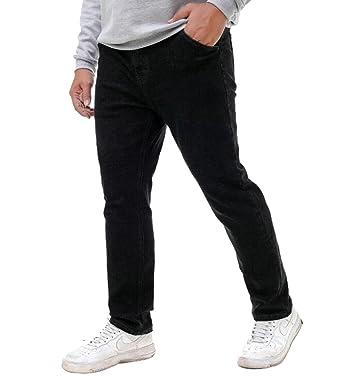 Oberora Men Plus Size High Waisted Denim Pants Casual Slim Jeans