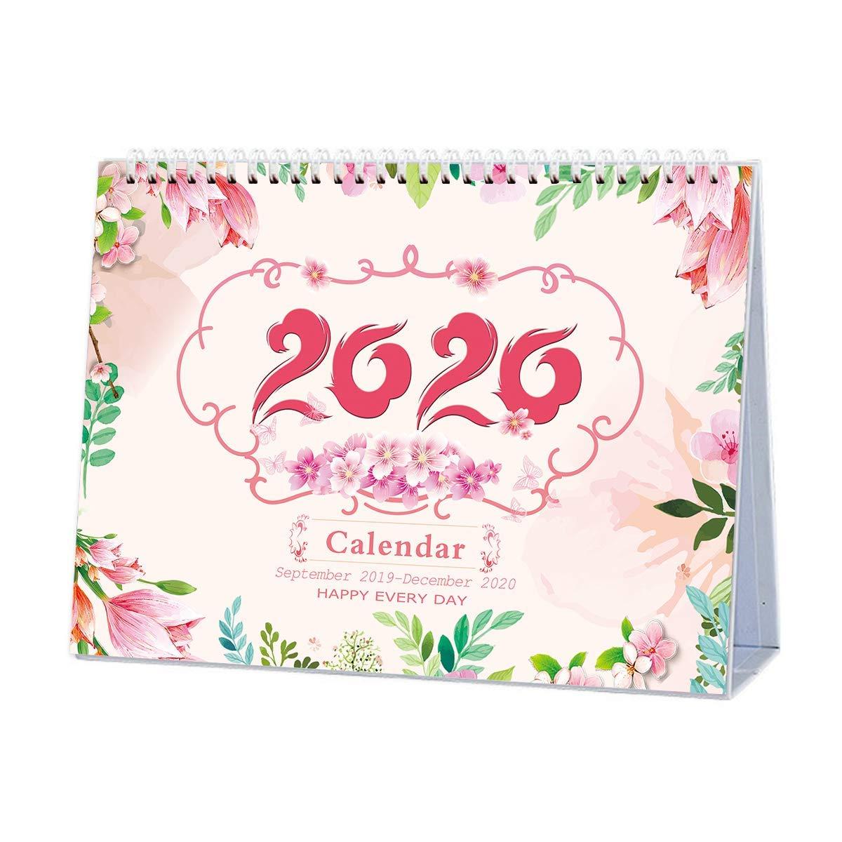 Standing Desk Calendar 2019-2020 Unique Monthly Designs, Double-Sided, Use Desktop Calendar September 2019 to December 2020, Tent Calendar, Flip Calender, Easel Calandar, Table Top Calendar