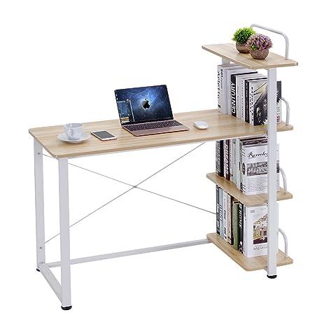 Keinode - Mesa de Estudio de Madera con 4 estantes externos para ...