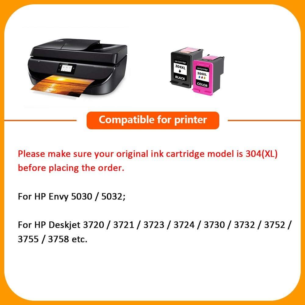 PINALL 2 Cartucho Compatible HP 304XL para HP Envy 5030 HP Envy 5032 5020 HP DeskJet 3720 3730 3732 3752 3755 3758 3760 Impresora 1 Negro // 1 Color