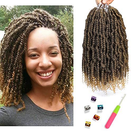 (Bomb Twist Crochet Hair Spring Twist Hair Prelooped Crochet Braids Synthetic Hair Extension Passion Twist Mini Twist Hair dreadlocks Braiding Hair for Women 6 Packs 14inch By Mirra's)