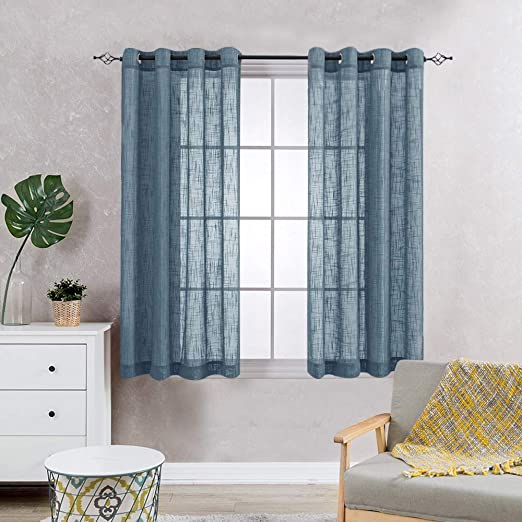 Sheer Curtains for Living Room Grommet Top Slub Open Weave Linen Textured  Curtain Sets for Bedroom Two Panels 63 Inch Navy Blue