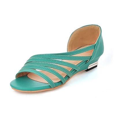 mogeek Bequeme Damen Sandaletten Keilsandaletten Sandalen Wedges Keilabsatz Schuhe Sommerschuhe