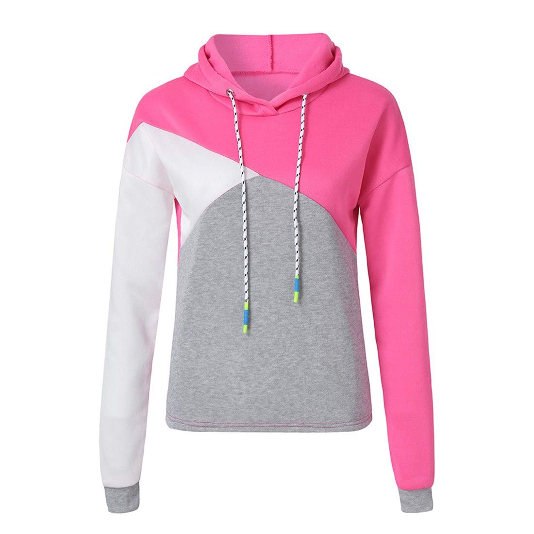 Ankola Cropped Hoodies for Women Womens Long Sleeve Drawstring Patchwork Sweatshirt Crop Top Hoodies