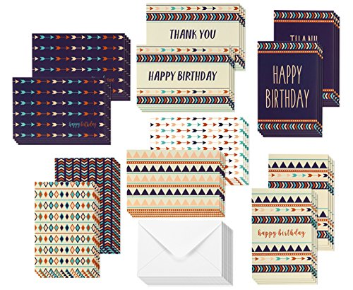 48 Pack Thank You Cards & Happy Birthday Cards - Blank Greeting Cards - Greeting Cards Bulk Blank Birthday Cards & Thank You Note Cards - 12 Colorful Tribal Designs, Envelopes Included 4 x 6 Inches
