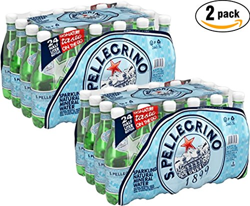 San Pellegrino Mineral Water (San Pellegrino Sparkling Natural Mineral Water, 24-16.9 oz Bottle (Pack of 2, Total of 811.2 Oz))