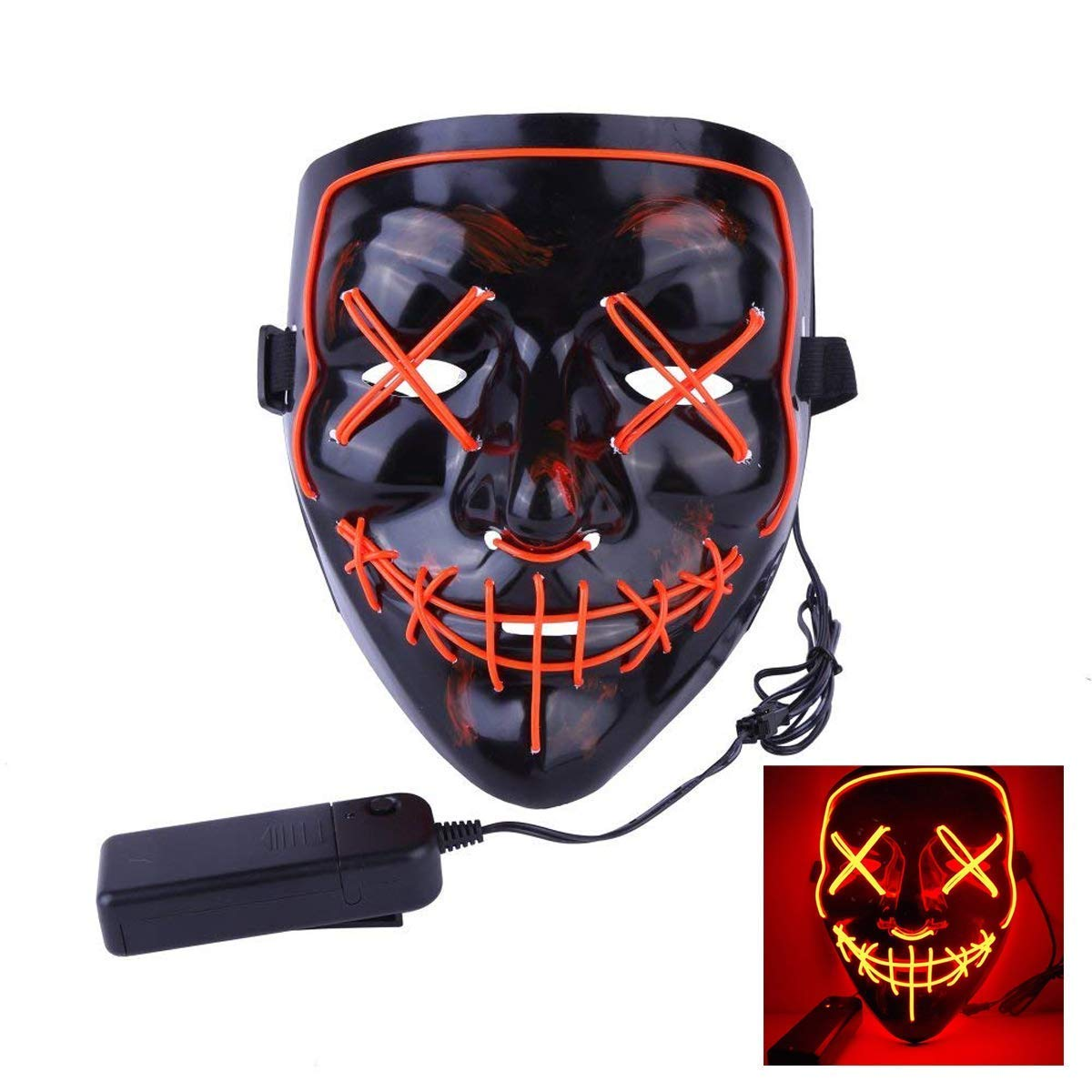 ZIKKER Frightening Halloween Mask Light up Purge Mask for Festival Cosplay Halloween Costume Z-MK-02