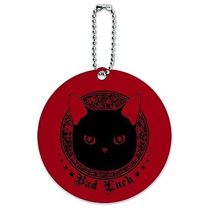 1b7413611783 Amazon.com | Bad Luck Black Cat with Skull Bones Round Luggage ID ...