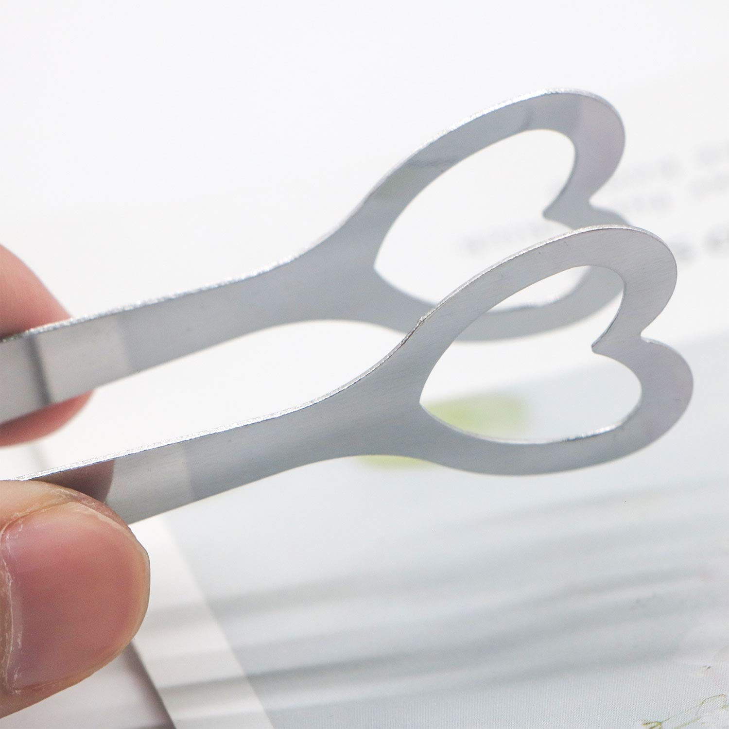 HUELE 3 Pcs Mini Stainless Steel Ice Sugar Tongs Serving Tongs Heart Shape for Kitchen Party Silver