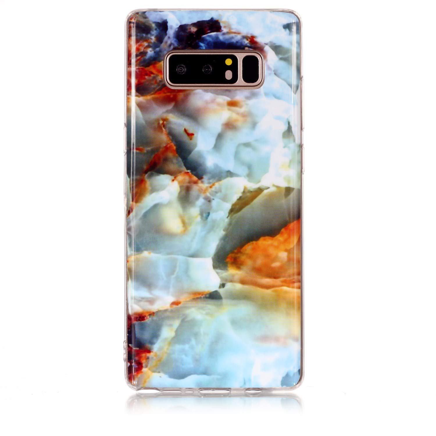 for Samsung Galaxy Note 9 Marble Case with Screen Protector,Unique Pattern Design Skin Ultra Thin Slim Fit Soft Gel Silicone Case,QFFUN Shockproof Anti-Scratch Protective Back Cover - Fire Cloud