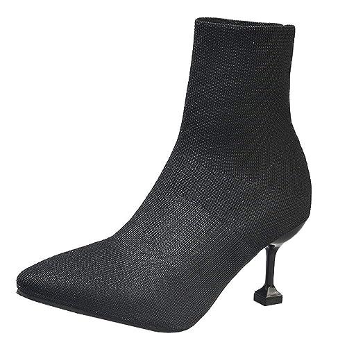 Rawdah Botas Mujer Invierno Botas de Mujer Moda Mujer Calcetines elásticos Zapato Punta Estrecha Tacones Delgados Botines Zapatos Mujer Plataforma: ...