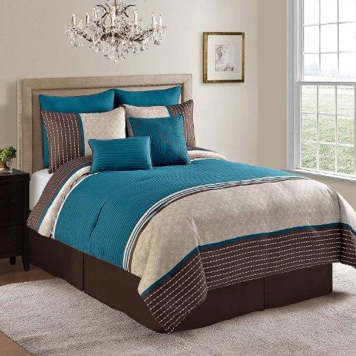 VCNY Seville 8-Piece Comforter Set, 104 by 14 by 90-Inch, Blue - Seville Comforter Set