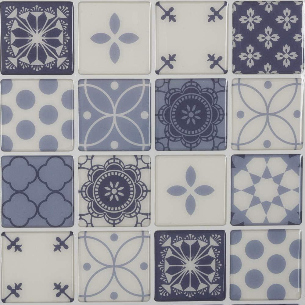 AC-D/éco Lot DE 2 Stickers Effet carrelage Bleu L 28,5 x l 26,5 cm