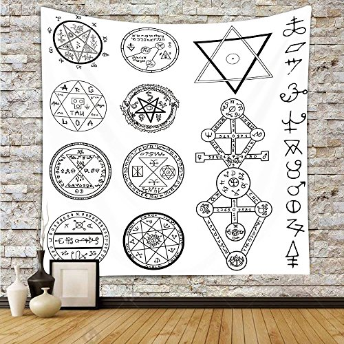 all Hanging,Occult Decor,Spiritual Set with Circular Pentagram Icons Hidden Knowledge of Cosmos Print,White Black,Wall Decor for Bedroom Living Room Dorm (14801 Hanging)