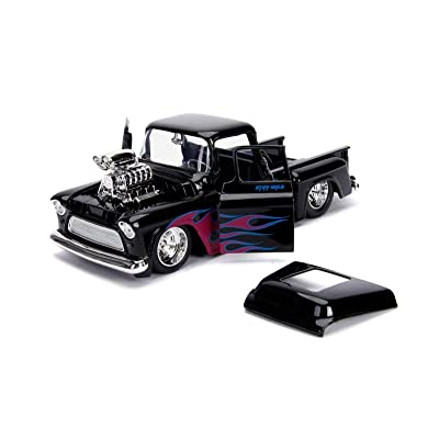 1955 Chevrolet Stepside Pickup Truck with Blower Glossy Black with Flames Just Trucks Series 1/24 Diecast Model Car by Jada 30714: Toys & Games