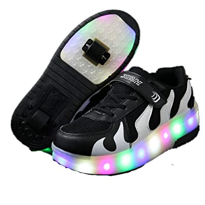 Kids Girls Boys LED Flashing Double Wheels Roller Shoes Skates Sneakers