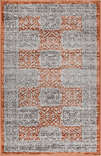 Well Woven HU-30-3 Hughes Pompey Distressed Modern Vintage Geometric Copper Area Rug 2'3