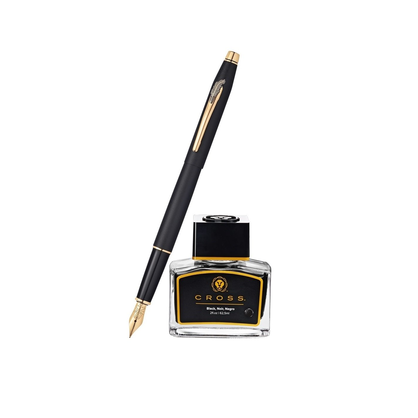"Cross Century Classic Special Edition 23KT Gold-Plated Fountain Pen and Ink Bottle Gift Set | Inspired by ""The Man Who Invented Christmas"" Major Motion Picture"