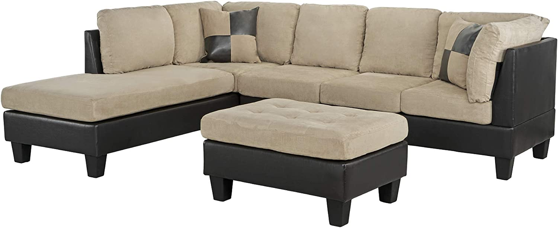 "Casa AndreaMilano 3-Piece Microfiber and Faux Leather Sofa and Ottoman Set, 102"" W, Tan"
