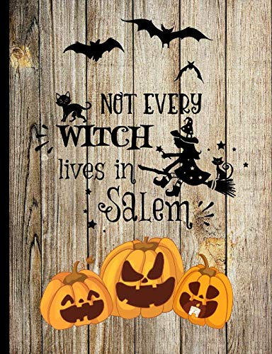 Not Every Witch Lives In Salem: Black Cat Witch Broom Jack O Lantern Vintage Wooden fence Halloween Inspired Autumn Fall Journal ()
