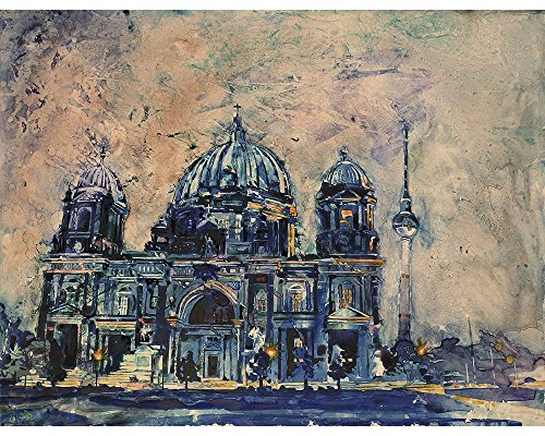 Cathedral in Berlin, Germany watercolor painting. Watercolor painting on YUPO - Dusk Berlin
