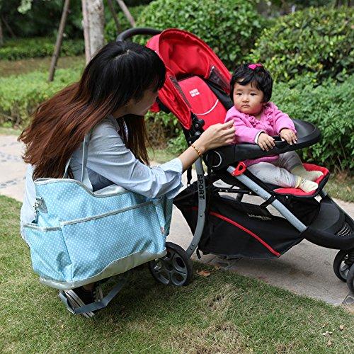 Yodo bebé bolsa de pañales–Super fácil de limpiar–Plus cambiador de pañales y compartimento aislado para botellas, lunares azul Polka Dot