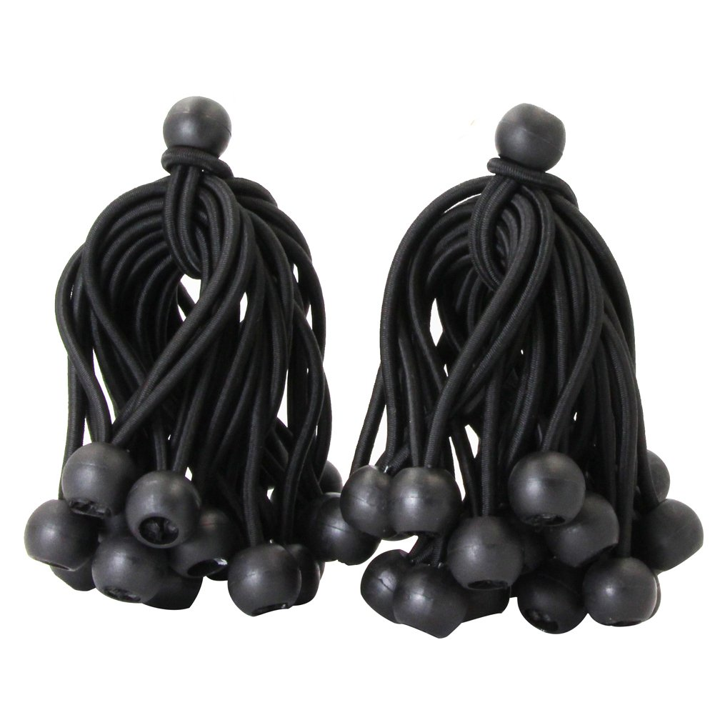 Joneaz Ball Bungee 4 Inch Black Tie Down Cord 0.8 Inch Ball, 50-Piece, UV Resistant