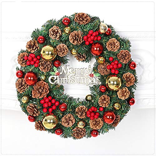 Wreaths Christmas Led - Chnaivy 24 Inch Christmas Wreath Door Wall Ornament Artificial LED Light Garland with Pine Cone Berries and Color Bells, Gifts for Christmas Party Deco