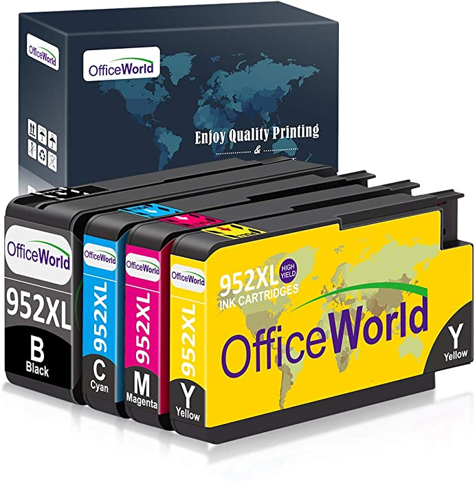 OfficeWorld Compatible Ink Cartridge Replacement for HP 952XL Ink Cartridges Combo Pack, with Updated Chips for HP OfficeJet Pro 8710 8720 8740 8730 7740 8210 8715 8216 8725 Printer (4-Pack)