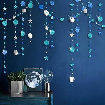 Kit de Guirlandes Bleu et Argenté en Petite Étoile Brillant Bannière  Décorations Métalliques Mate Grand en Papier Cercle pour Anniversaire,Fête  de ...