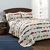 Kids Teens Full Queen 3 Piece Multi Grey Sports Race Cars Pattern Graphic Print Quilt Set Attractive Luxurious Beautiful Stylish Elegant Bedding Colorful Modern Fashionable Charming Bed Room Addition