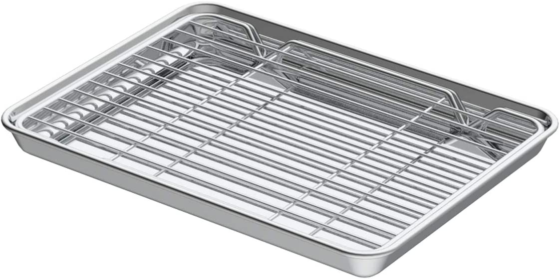 Small Baking Sheets with Rack, Mini Cookie Sheets and Nonstick Cooling Rack & Stainless Steel Baking Pans & Toaster Oven Tray Pan, Rectangle Size 10.4 x 8 x 1 inch & Non Toxic By HEAHYSI