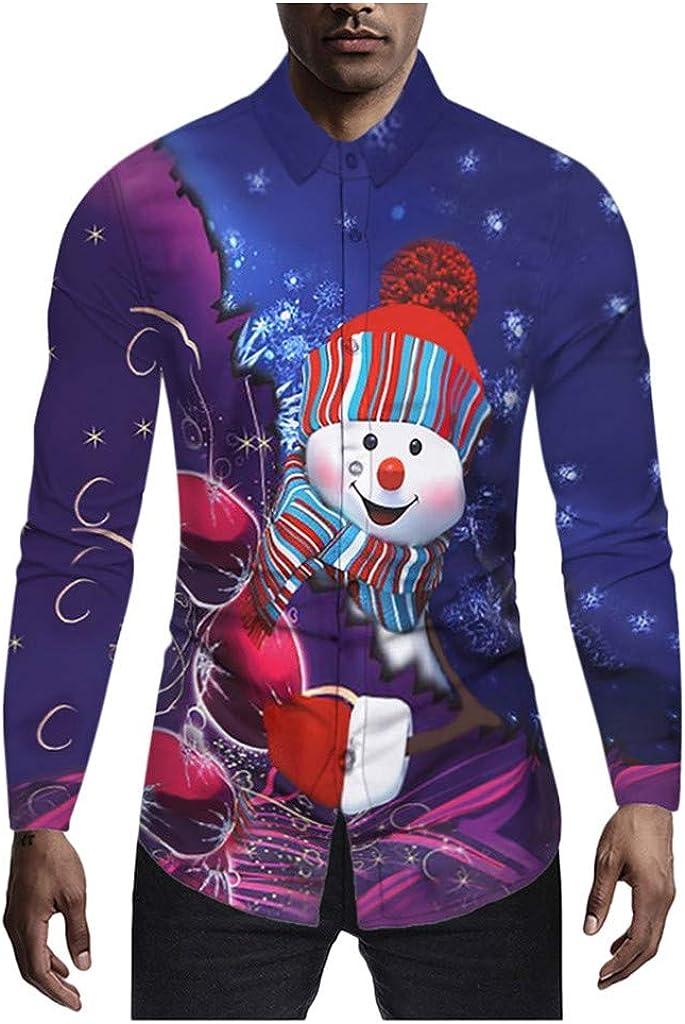 waotier Christmas Camisas Hombres Estilo étnico Slim 3D ...