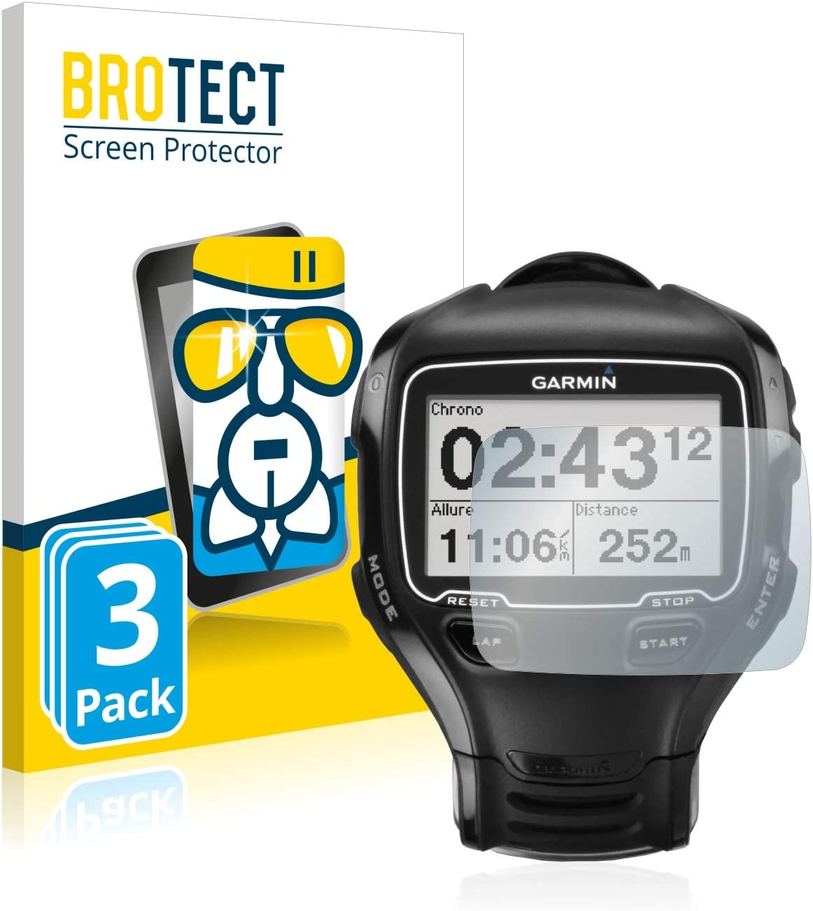 BROTECT Protector Pantalla Cristal Compatible con Garmin Forerunner 910XT Protector Pantalla Vidrio (3 Unidades) - Dureza Extrema, Anti-Huellas