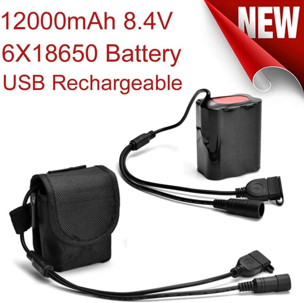 Chartsea 8.4V USB Rechargeable 6 X 18650 Battery Pack for Bicycle Light Bike Torch Back