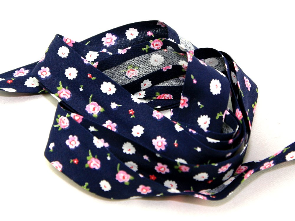 25mm wide Cotton Patterned Bias Binding Navy/Pink Floral - per metre JTL