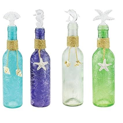Botella decorativa troqueles con forma tarros con tapa de cristal decoración de concha marina y casa
