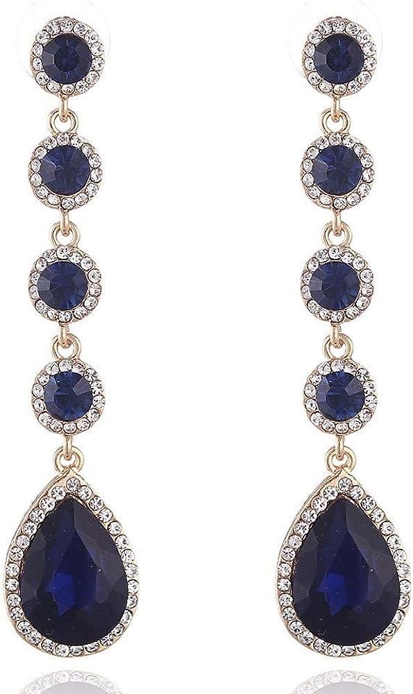 WANGLETA Pendientes Stud Earring Europa y los Estados Unidos Multi-Color de cristal en forma de gota Piedras preciosas Pendientes Mujer Joyas, F