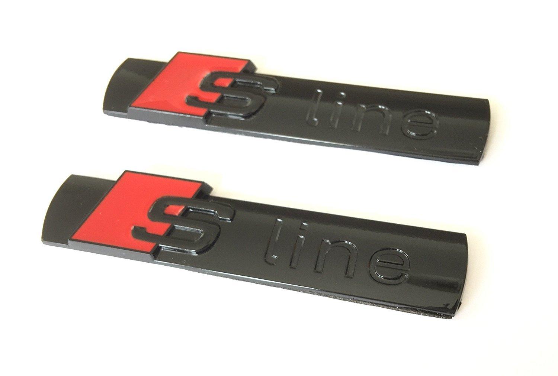 Firemans 2pcs Sline Emblem Sline S line S-line Badge Sticker Metal Decal For A1 S1 A2 S2 A3 S3 RS3 A4 A4L S4 RS4 A5 S5 RS5 A6 S6 RS6 A7 S7 RS7 A8 S8 RS8 Q2 Q3 Q5 Q7 TT R8 Black