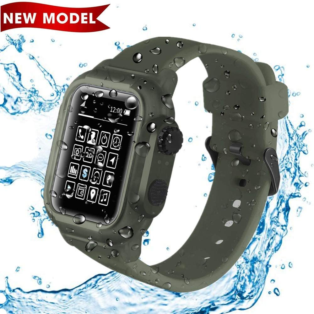 Waterproof Apple Watch Case 44mm Series 4/5 -IP68 Waterproof Shockproof Impact Resistant with Premium Soft Silicone iWatch Sport Band /Drop-Proof Apple Watch Protective Case -Compatible iWatch 44mm