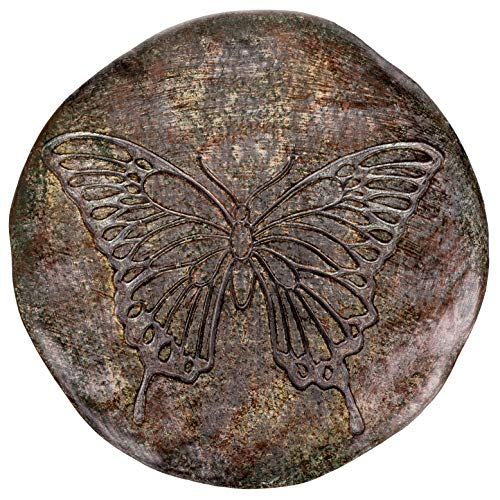 (Transpac Imports, Inc. Butterfly Wings Etched Sketch 12 inch Round Cement Garden Stepping Stone)