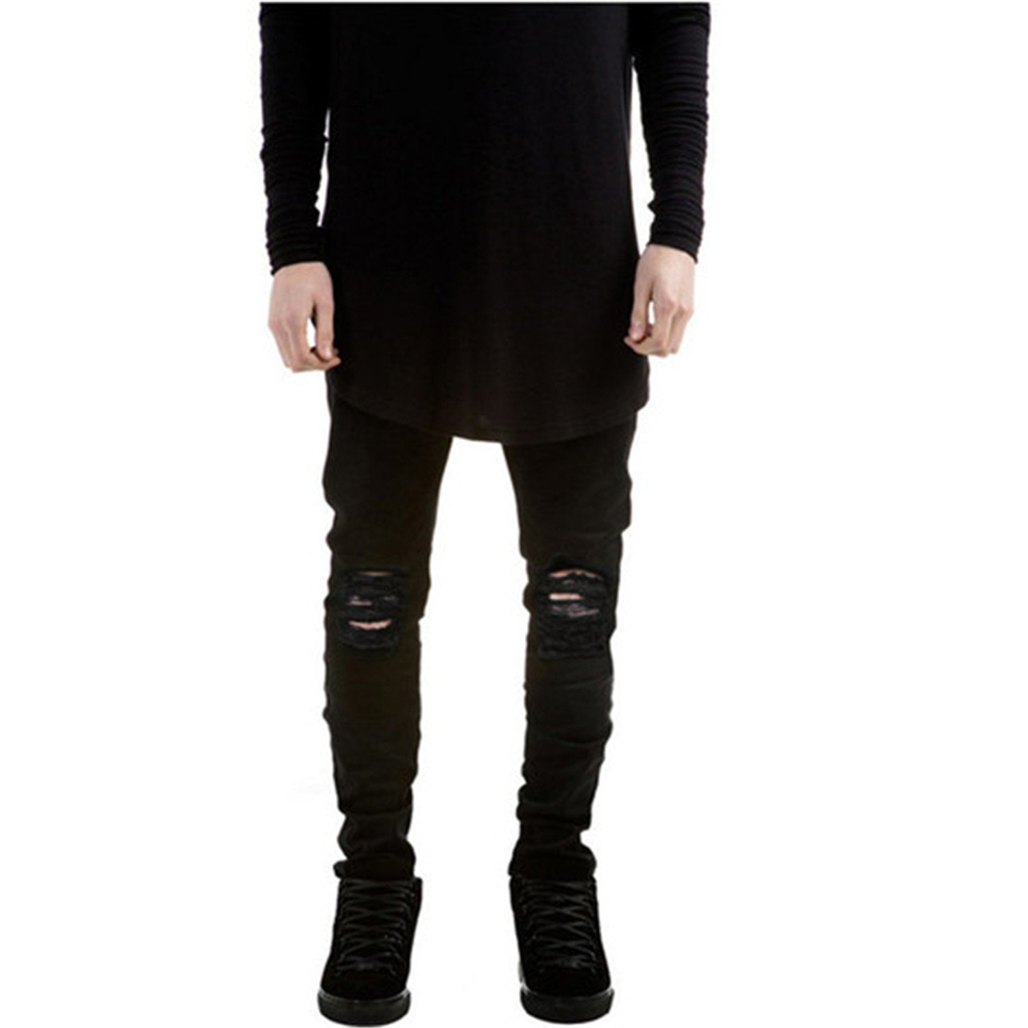 Joshua Sanchez 2017 Men Ripped Jeans With Holes Skinny Slim Fit Destroyed Torn Jean Pants