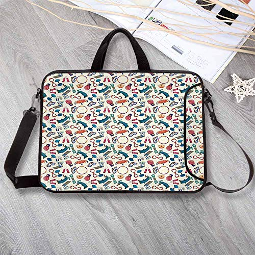 Fitness Wear-Resisting Neoprene Laptop Bag,Cartoon Style Gym Equipment Set Activity Exercise Burning Calories Losing Weight Decorative Laptop Bag for Laptop Tablet PC,12.6