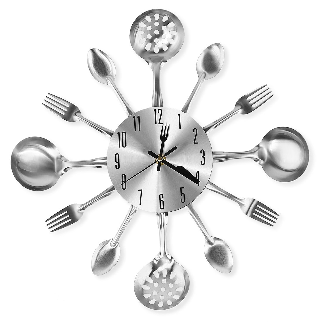 """Cigera 14"""" Kitchen Cutlery Wall Clock with Forks and Spoons for Home Decor,Sliver"""